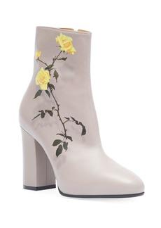 Dries Van Noten Midbrown Printed Floral Leather Booties