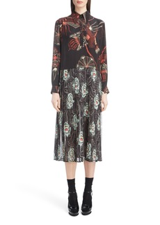 Dries Van Noten Mixed Print Silk Dress