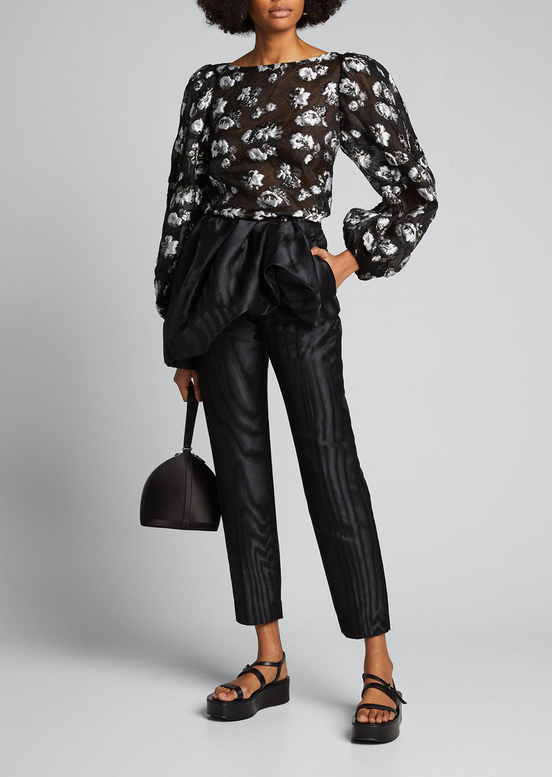 Dries Van Noten Moire Ruched Peplum-Waist Crop Pants