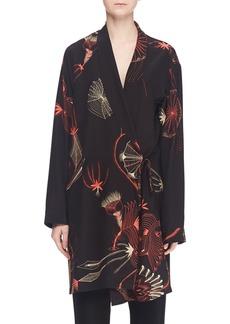 Dries Van Noten Multi-Print Long Silk Robe Jacket