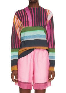 Dries Van Noten Nacre Print Cotton Blend Sweater