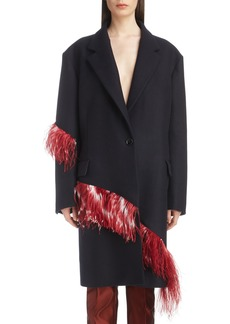 Dries Van Noten Ostrich Feather Trim Wool Blend Reefer Coat