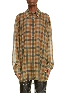Dries Van Noten Oversize Plaid High/Low Shirt