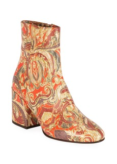 Dries Van Noten Paisley Thick-Heel Ankle Boots