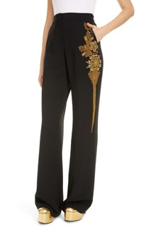 Dries Van Noten Pantery Embroidered Wide Leg Pants
