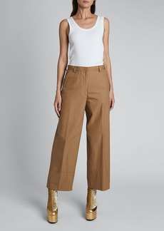 Dries Van Noten Paroval Cropped Cotton Pants
