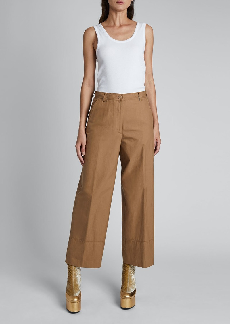 Dries Van Noten Paroval Cropped Cotton Pants