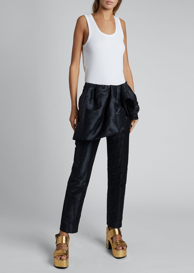 Dries Van Noten Patiar Fold-Over Linen/Cotton Pants