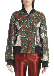 Dries Van Noten Peacock & Metallic Bomber Jacket