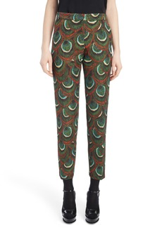 Dries Van Noten Peacock Print Crop Pants