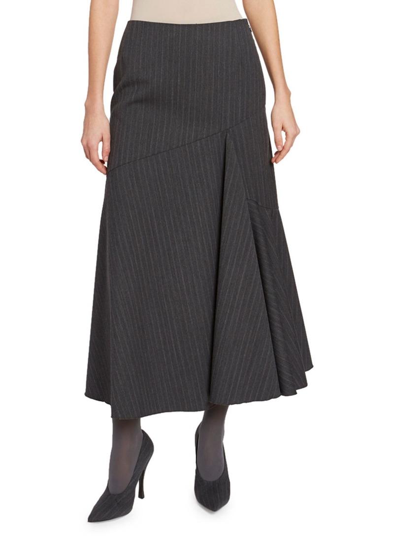 Dries Van Noten Pinstriped Asymmetric Skirt