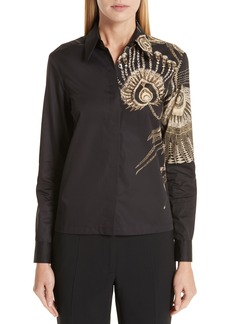Dries Van Noten Placed Print Cotton Poplin Blouse