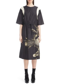 Dries Van Noten Placed Print Poplin Dress