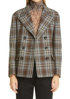 Dries Van Noten Plaid Double Breasted Wool Jacket