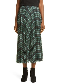 Dries Van Noten Plaid Trim Drape Skirt