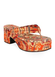 Dries Van Noten Platform Fabric Thong Sandals