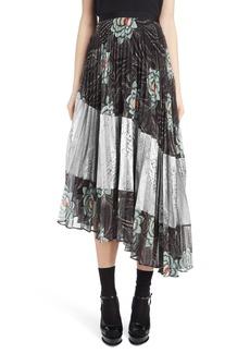 Dries Van Noten Pleated Floral Print & Metallic Skirt