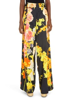 Dries Van Noten Podium Floral Wide Leg Trousers