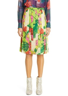 Dries Van Noten Print Pleated Skirt