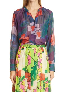 Dries Van Noten Print Sheer Silk Blouse