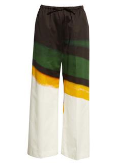 Dries Van Noten Puvis Print Cotton Crop Wide Leg Pants