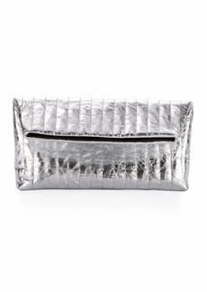 Dries Van Noten Quilted Metallic Leather Clutch Bag