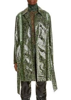 Dries Van Noten Ramblas Python Print Coated Cotton Coat
