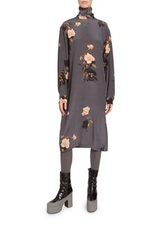 Dries Van Noten Rose Print Jersey High-Neck Midi Dress