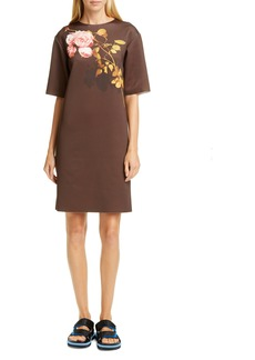 Dries Van Noten Rose Print Scuba Shift Dress