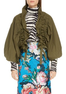 Dries Van Noten Ruched Crop Bubble Sleeve Jacket