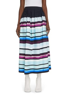 Dries Van Noten Sakura Stripe Pleated Cotton Skirt