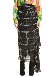 Dries Van Noten Savin Sequin Plaid Asymmetrical Drape Skirt