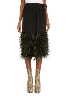 Dries Van Noten Scotti Feather Hem Skirt