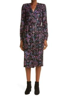 Dries Van Noten Sequin Embroidered Long Sleeve Wrap Dress