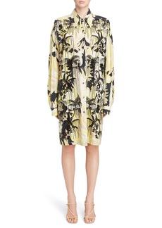Dries Van Noten Sequin Embroidered Palm Print Shirtdress