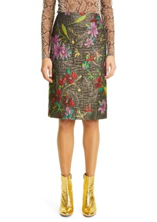 Dries Van Noten Floral Metallic Jacquard Pencil Skirt