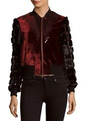 Dries Van Noten Sequined Velvet & Faux Fur Jacket