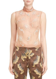 Dries Van Noten Sheer Embellished Silk Tank