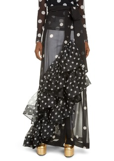 Dries Van Noten Sikar Dot Ruffle Sheer Maxi Skirt