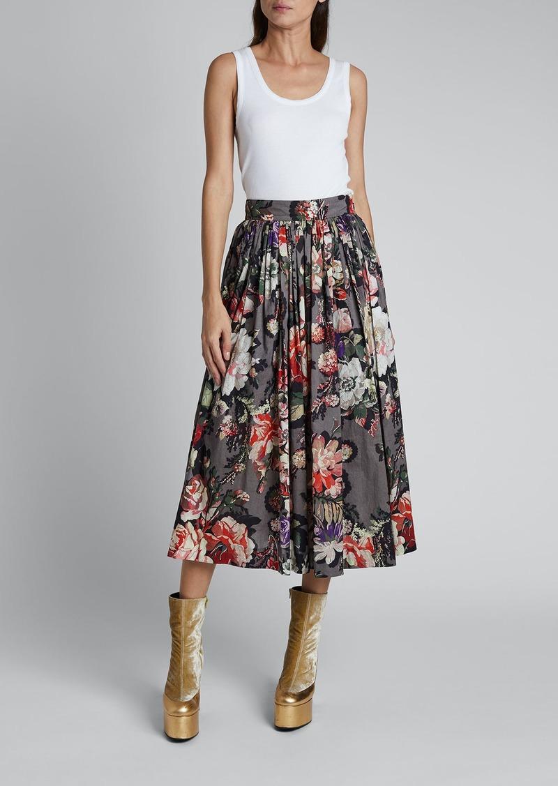 Dries Van Noten Sita Pleated Midi Skirt