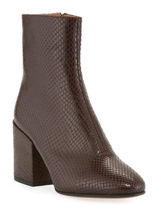 Dries Van Noten Snake-Embossed Leather Booties