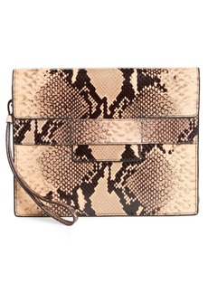 Dries Van Noten Snake Embossed Leather Wristlet Clutch