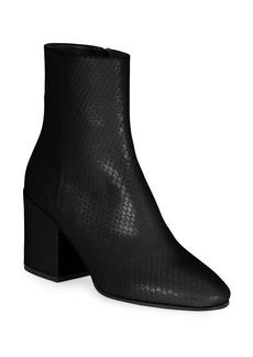 Dries Van Noten Snake-Print Leather Block-Heel Booties