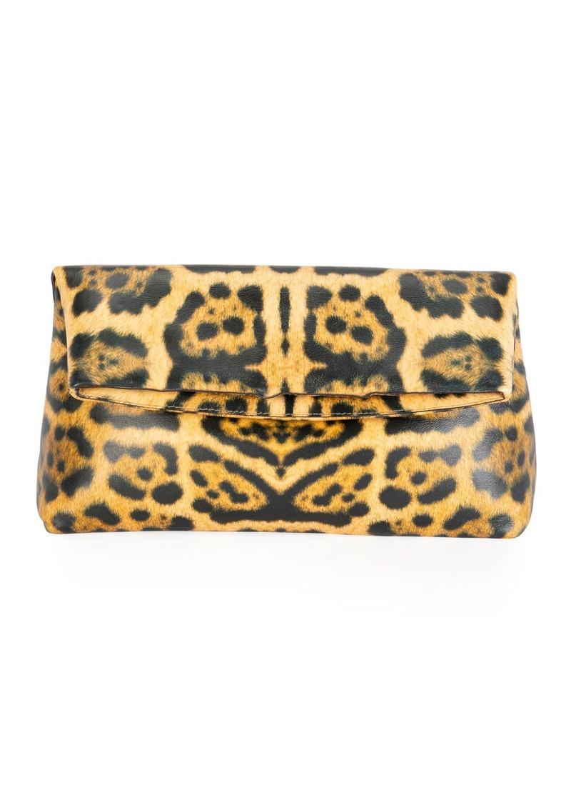 Dries Van Noten Soft Fold-over Leopard Clutch Bag