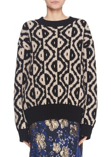 Dries Van Noten Spot-Intarsia Crewneck Long-Sleeve Merino Wool-Blend Sweater