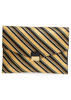 Dries Van Noten Stripe Canvas Large Canvas Envelope Clutch
