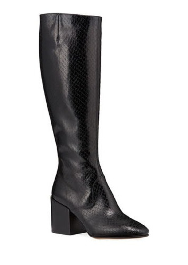 Dries Van Noten Tall Shaft Snake-Embossed Boots