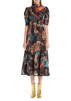 Dries Van Noten Tattoo Floral Print Silk Dress