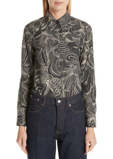 Dries Van Noten Tattoo Print Cotton Blouse