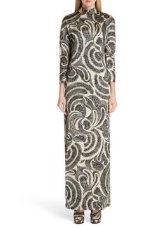 Dries Van Noten Tattoo Print Maxi Dress